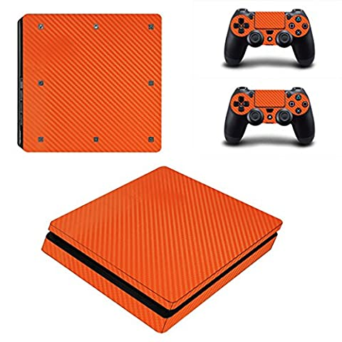 Morbuy PS4 Slim Skin Vinyl Autocollant Decal Sticker pour Playstation 4 Slim console + 2 Dualshock Manette Set (Orange Carbon Fiber)