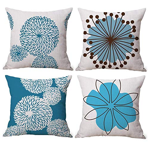 Gspirit 4 Pack Flor Sencillo Estilo Algodón Lino Throw Pillow Case Funda de Almohada para Cojín 45x45...