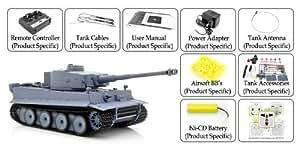 High-Tech Place Tiger 1 - Tank radiocommandé 1/16 Airsoft RC / Lanceur de bille / Tourelle rotative / Suspension