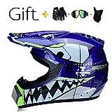 SK-LBB Casque de motocross pour enfant ou adulte Casque certifié DOT Livré avec lunettes de protection, gants et tour de cou
