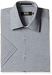 Peter England Mens Formal Shirt (8907495190730_ISH1041601119_44_Black Solid)