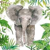 Dschungel Elefant grau grün weiß 13