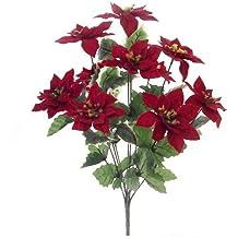 """17""""(42cm) Artificial terciopelo rojo Poinsettia y Holly Bush con 10cabezas de flores grandes"""