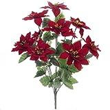 43,2cm (42cm) Künstliche Rot Samt Weihnachtsstern & Holly Bush mit 10großen Blume Köpfe