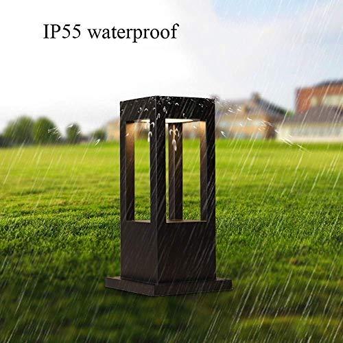 PHONG Modern Platz Industrieller Rasen LED-Pfosten-Licht, Außen Doorway Pfad Hof dekorativer schwarzer Aluminiumdruckguss Außensäule Laterne Pool Säule Lampe (Größe : H:40.5CM) -