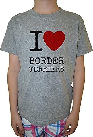 I Love Border Terriers Dogs Garçon Enfants T-shirt Cou D'équipage Gris Coton Manches Courtes Boys Kids T-shirt Grey