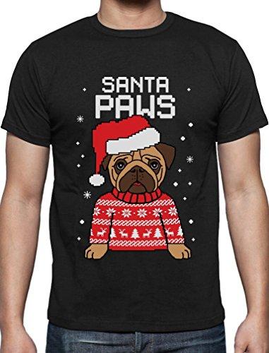 Santa Paws Pfoten - Mops Süßes Weihnachtsshirt T-Shirt Schwarz