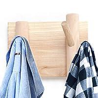 Byher Wall Mounted Coat Hooks and Hat Rack - Rustic Wooden Hangers for Entryway, Hallway, Bathroom Hook Rack for Keys, Hats, Small Handbags (3 Hooks - 5.7Inch)