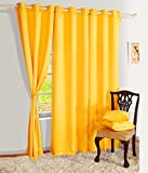 Grihshobha Yellow 2Pcs Ready-made Solid Plain Window curtain (4x5ft)