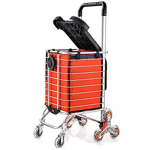 Einkaufstrolleys Faltender Einkaufswagen Kleiner Zugkorb Im Freien Faltbarer Einkaufskorb des Aluminiums Kletternde Treppe Mit Dem Sitzen Kann Lebensmittel Kaufen Einkaufskörbe
