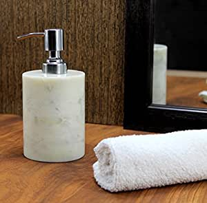 Kleo Soap Lotion Dispenser Made Of Genuine Indian Marble In White Color Luxury Bathroom