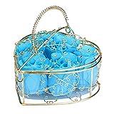 CLOOM 6 Stücke Rosen-Duftseifen in Flowerbox, Rosen Seife Kunstblumen Konservierte Rosenduft Steigung-Farben-Badeseife Rose in Geschenkbox Weihnachten-Valentinstag-Geschenk (Blau)