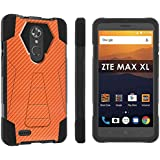 [POPCulture] Rugged Case For ZTE [Max XL] [Blade Max 3 Z986] [Zmax Pro 2] [Black/Black] Military Armor Case [KickStand] - [CarbonFiber Print Orange] Print Design