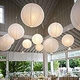 10 Stücke Papierlaterne Laterne Deko Feier Lampions Papierlampen mit 10er Mini LED Lichter (Weiß Lampion + Warmweiß Mini LED-Ballons Lichter, 30cm)