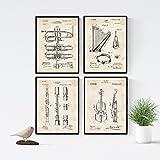 Nacnic Vintage - Lot de 4 Feuilles avec Brevets Instruments de Musique. Définir des Affiches avec des Inventions et des Anciens Brevets