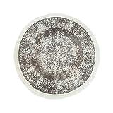 carpet city Druck-Teppich Flachflor Polyester Waschbar Klassisch Vintage Ornamente Mäander beige Creme 150x150 cm rund