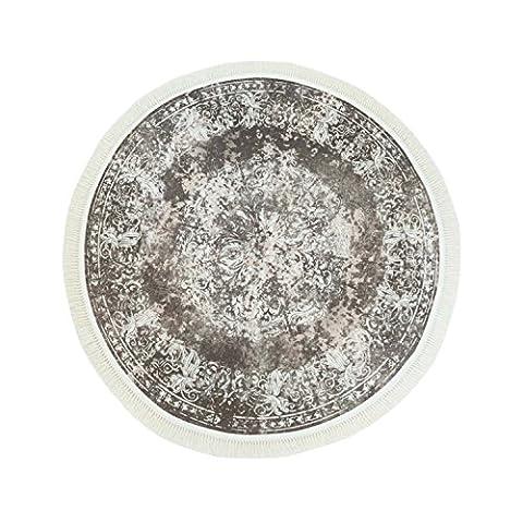 Druck-Teppich Flachflor Polyester Waschbar Klassisch Vintage Ornamente Mäander beige creme 150x150 cm