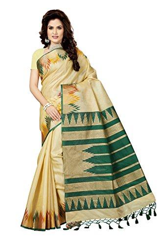 Rani Saahiba Art Bhagalpuri Silk Printed Saree ( SKR3522_Beige - Green )
