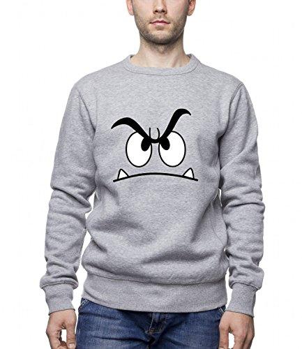 Three Monkeys Angry Face Abstract Art Men's Unisex Sweatshirt Grigio Large