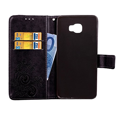 EKINHUI Case Cover Doppelter magnetischer rückseitiger Sucktion Retro Art PU-lederner Schlag-Standplatz-Fall mit Kickstand und Mappen-Beutel-Funktion für Samsung-Galaxie C5 Pro ( Color : Blue ) Black