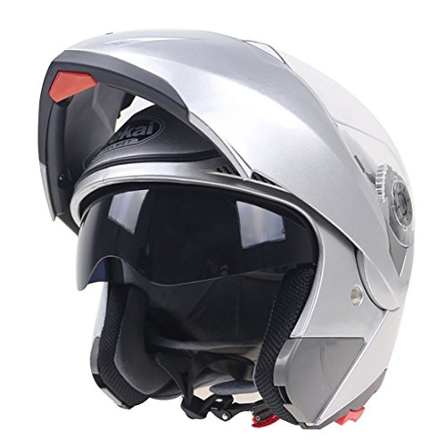 HECHEN Full Face Helm Vier Jahreszeiten Dual Lens Motorrad Racing Helm,Silver,M