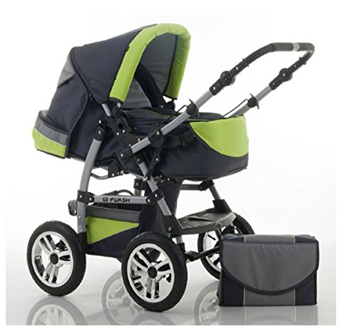 "14 teiliges Qualitäts-Kinderwagenset 2 in 1 ""FLASH"": Kinderwagen + Buggy - Megaset – all inklusive Paket in Farbe ANTHRAZITE-GRÜN"
