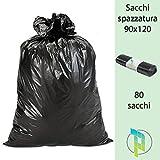 Palucart sacchi neri grandi resistenti sacchi spazzatura condominiali cm 90x120 120 litri 80 pezzi