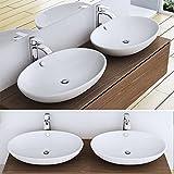 Design Aufsatzwaschbecken Brüssel306, BTH: 63x42x15,5, ovales Waschbecken aus Keramik