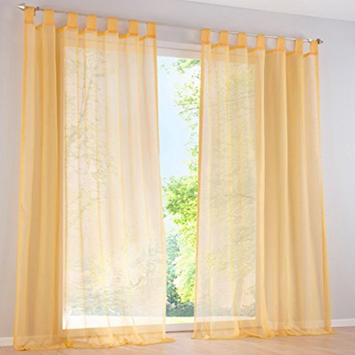 Cortinas amarillas translúcidas para sala
