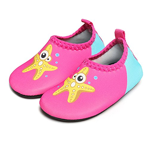 Jiasuqi traspirante antiscivolo quick-dry bambino sport acquatici scarpe per swim beach pool surf yoga, rose starfish 18-24 mesi