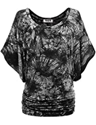 DJT Femme Top Manches Chauve-souris T-shirt Extensible Grande Taille Tunique