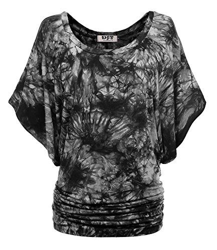 DJT Femme Top Manches Courtes Chauve-souris T-shirt Extensible Grande Taille Noir-Gris L