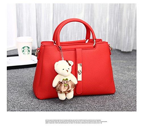 Donna Borse a Tracolla Borse a Mano e a Spalla Elegante Classico con Bambola Orso Amichevole e Carino Grigio scuro Rosso