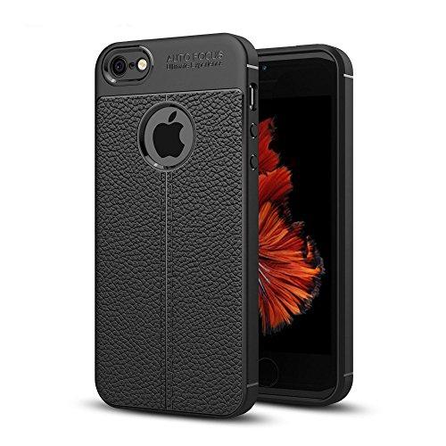UKDANDANWEI Apple iPhone SE Hülle, Soft Flex Silikon TPU Case Litchi Leder Muster Handyhülle Schutzhülle für Apple iPhone SE - Marine Schwarz