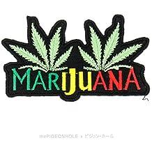 """[de encendido 'n Bake] con hojas de marihuana """"MARIHUANA (Rasta, Negro)–Die Cut en de hierro, sew en bordado–Parche, diseño de regalo, recuerdo, # Smoke Weed carne Mari Juana alta viaje Bob Marley hoja"""