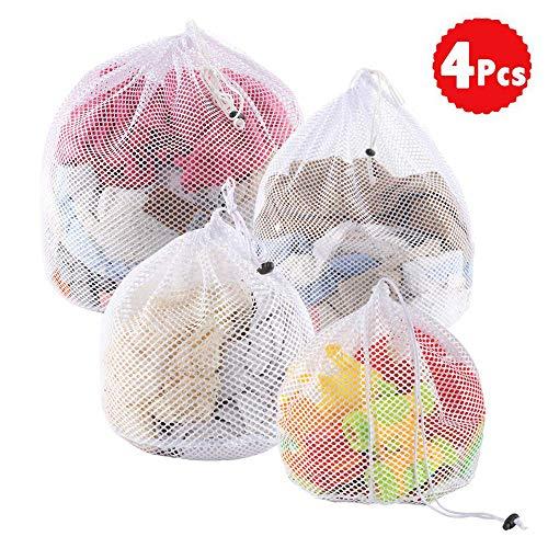 Bolsa de lavandería de malla con cordón para lavadora, 4 tamaños