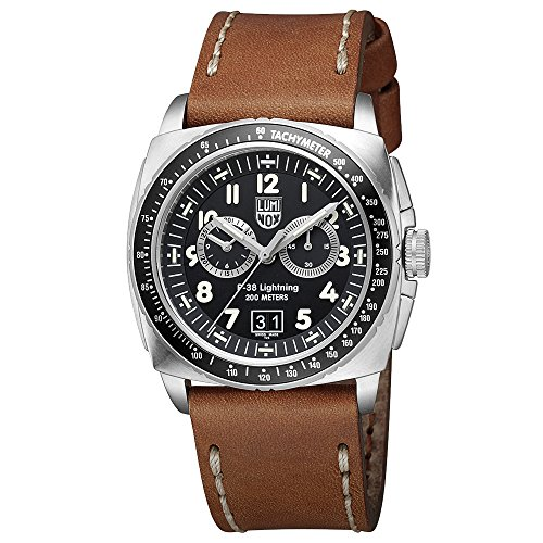 Luminox P-38 LIGHTNING™ Chronograph Men's Quartz watch with Black dial featuring LLT Luminox light Technology 44 millimeters Stainless Steel case and Brown Leather Strap  XA.9447