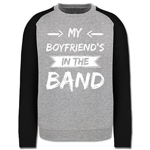 Statement Shirts - My boyfriend's in the band - Herren Baseball Pullover Grau Meliert/Schwarz