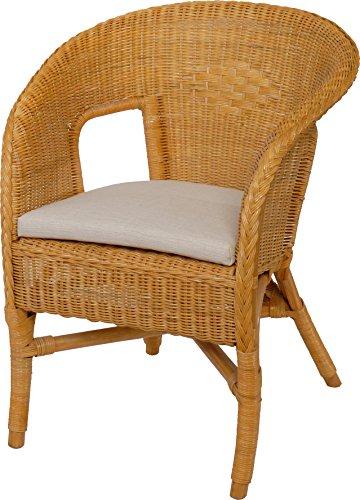 Rattan-Sessel / Stapelsessel Bella in der Farbe Honig mit Polster, aus Natur-Rattan - Versandkostenfrei in DE