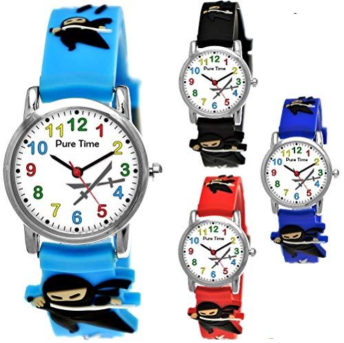 hr Mädchen-Uhr für Kinder Jungen-Uhr Silikon-Kautschuk Armband-Uhr Uhr mit 3D Ninja Samurai Waffen Motiv Ninjauhr Lern-Uhr Schul-Uhr Sport-Uhr Schwarz Weiß (Hellblau Türkis) ()