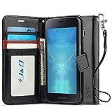 JundD Kompatibel für Galaxy J2 Core Leder Hülle, [Handytasche mit Standfuß] [Slim Fit] Robust Stoßfest PU Leder Flip Handyhülle Tasche Hülle für Samsung Galaxy J2 Core Hülle - Schwarz