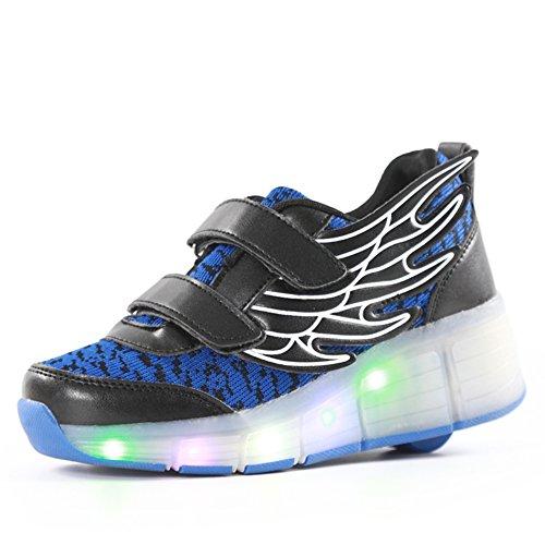 LED Kinder Junge Mädchen Led Schuhe Mit Rollen Herren Skateboard Rollschuhe Damen mit ein Rad 7 Farbe Farbwechsel Sneaker Blau