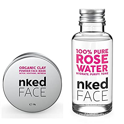 Nked Face - Organic Clay Powder Face Mask / Rose Water , Dextox Mask, Acne Reduction, Clear Skin from Nked Face