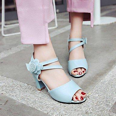 Sandales femmes Confort d'été Similicuir Talon Flower Light Rose Bleu Blanc Beige Blue