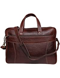 Raicon T 15.6 Inch Genuine Leather Laptop Office Bag In Brown Color