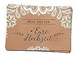 bigdaygraphix GbR 25 Musikwunschkarten A7 Musikwunsch Hochzeit Hochzeitsfeier Sweet Vintage 10,5 x 7,4cm Kraftpapier Spitze