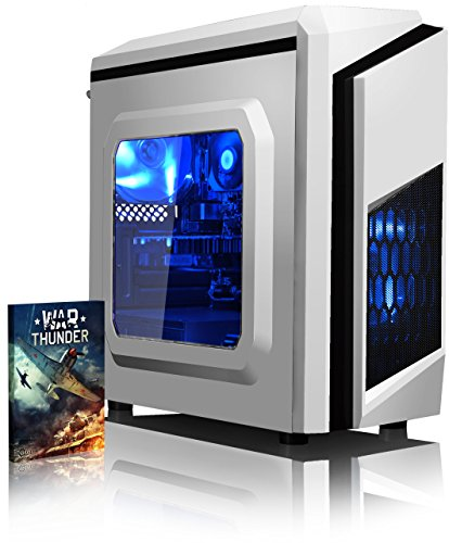 VIBOX Gaming PC - Killstreak GS550T-145 - 3.5GHz Intel i5 Quad Core CPU, GTX 1050 Ti GPU, Advanced, Desktop Computer with Game Bundle, Blue Internal Lighting and Lifetime Warranty* (Super Fast Intel i5 7400 Kabylake 4-Core CPU Processor, Nvidia GeForce GTX 1050 Ti 4GB Graphics Card GPU, 8GB DDR4 2133MHz High Speed RAM Memory, 1TB (1000GB) Sata III 7200rpm Hard Drive HDD, 85+ Rated PSU Power Supply, CIT F3 White Gaming Case, Intel LGA1151 Motherboard, No Operating System Installed)