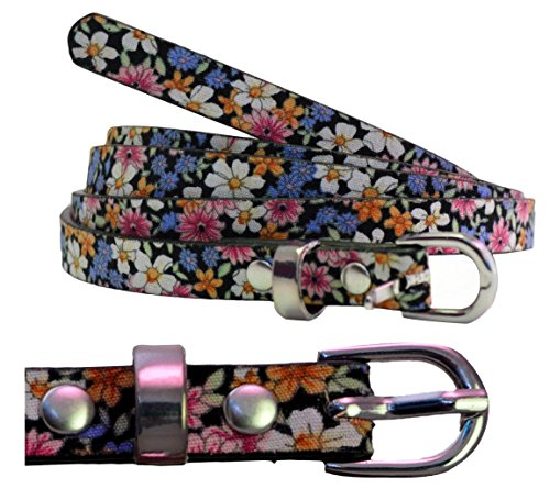Chocolate Pickle ® New Womens Plus Size Floral Hippy Waist Thin Strap PU Patent Belts 16-30 Test