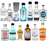 Gin Mini Set Probierset 13er - Saffron + Bombay + Edinburgh + Gin Mare + Gordons + Monkey 47 + Organic + Siegfried + The Botanist + Duke + London No1 + Luv & Lee