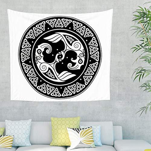 Tapiz negro celta Raven Shield escandinavo cuerno tatuaje tapiz vikingo cuerno de Odin Huginn Muninn Totem pared colgado tapiz hogar pared decorativo 150 x 130 cm blanco